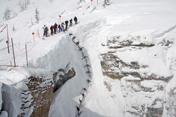"""Corbet's Couloir"" im Skigebiet Jackson Hole, Wyoming/USA"