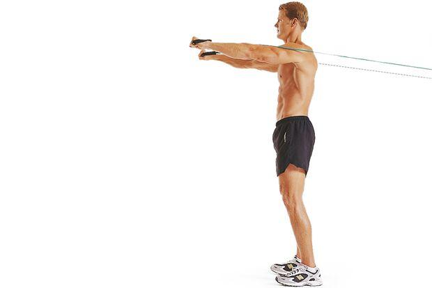 5. Übung: Brustpresse mit Tube – Schritt A