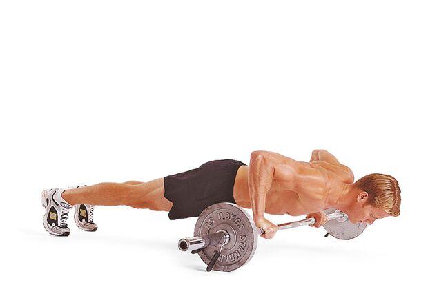 8. Übung: Liegestütze auf der Langhantel – Schritt B