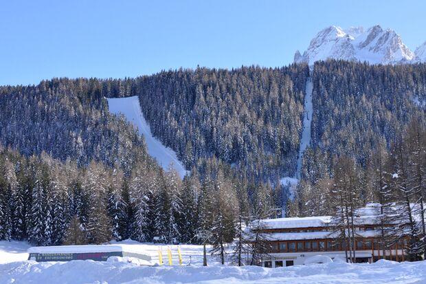 "Abfahrt ""Holzriese"" in den Sextner Dolomiten, Italien"
