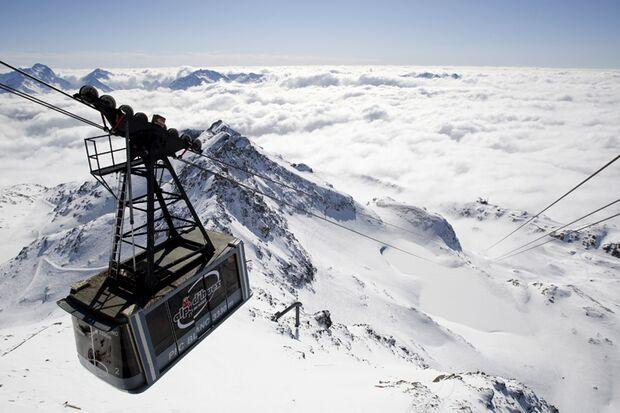 Abfahrt vom Pic Blanc in Alpe d'Huez, Frankreich