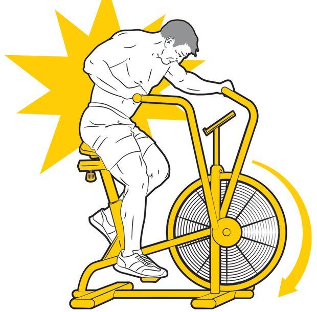Achte darauf, das Rad ständig in Bewegung zu halten