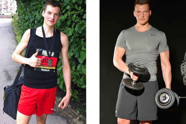 Alexander hat 20 Kilo reine Muskelmasse zugelegt