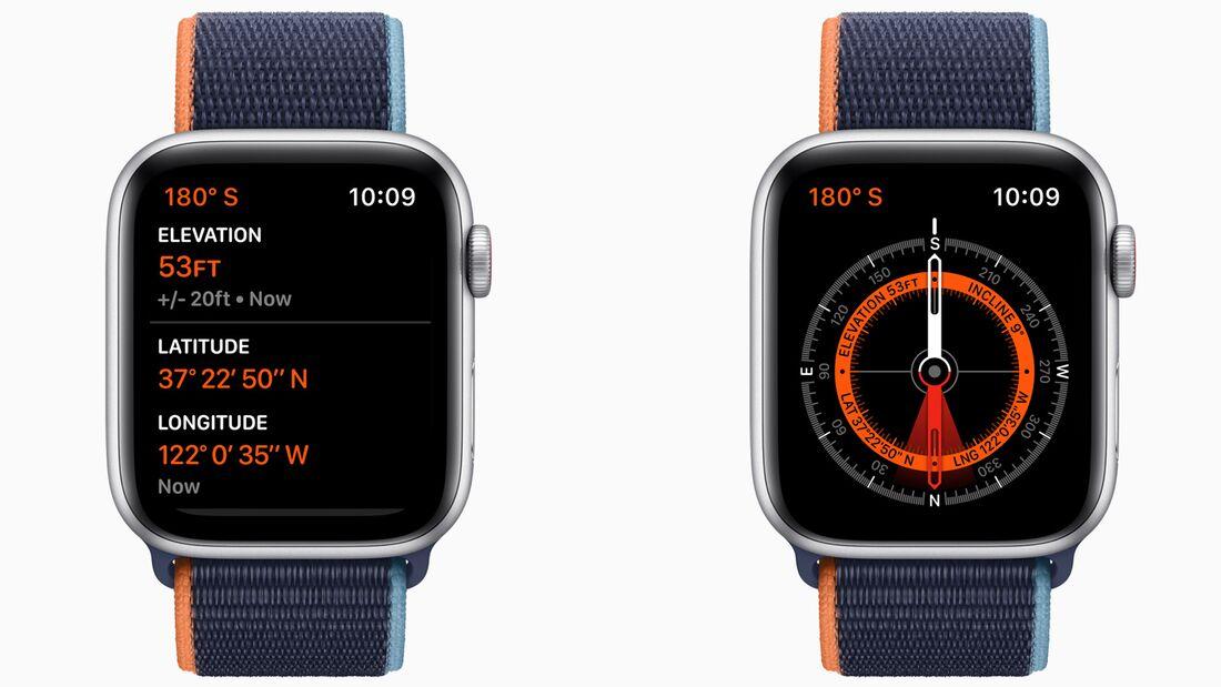 Apple Watch 6: Der Höhenmesser ist jetzt immer aktiv, sodass man etwa beim Wandern die Höhe jetzt in Echtzeit verfolgen kann