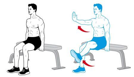 Arm-Bein-Heben trainiert die Muskeln ohne Geräte