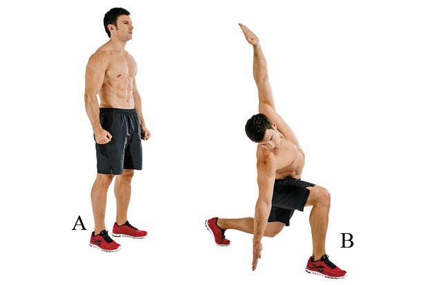 Ausfallschritte mit Seitbeugen bearbeiten Beine, Gesäß und Rumpf