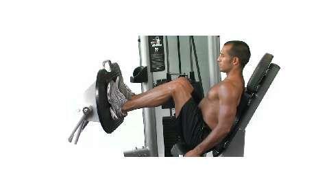 Bei der Beinpresse trainieren Sie Ihre Oberschenkel und Hüftbeuger. Wichtig: Stellen Sie das Gerät so ein, dass die Beine etwa rechtwinklig gebeugt sind.