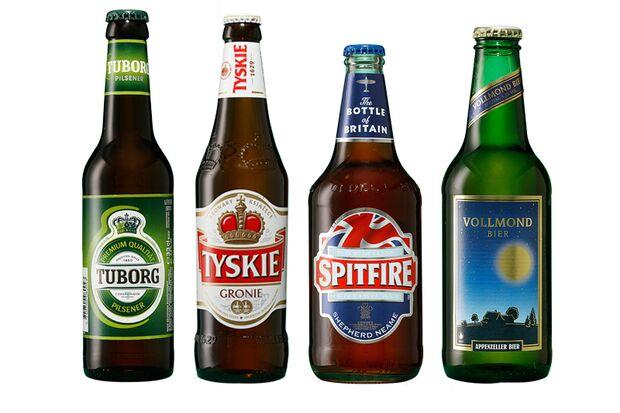 Beliebte Biere Dänemark, England, Polen und der Schweiz