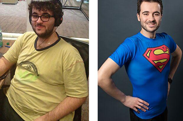 Daniel wog vorher 136 Kilo und nachher 81 Kilo