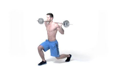 Das 4er-Satz-Training unserer 4x4 Fatburning-Formel fordert den Aufbau jedes Muskels heraus und Sie verbrennen zusätzlich noch jede Menge Energie. Ausfallschritte mit Langhantel auf den Schultern kräftigen Ihre Beine.