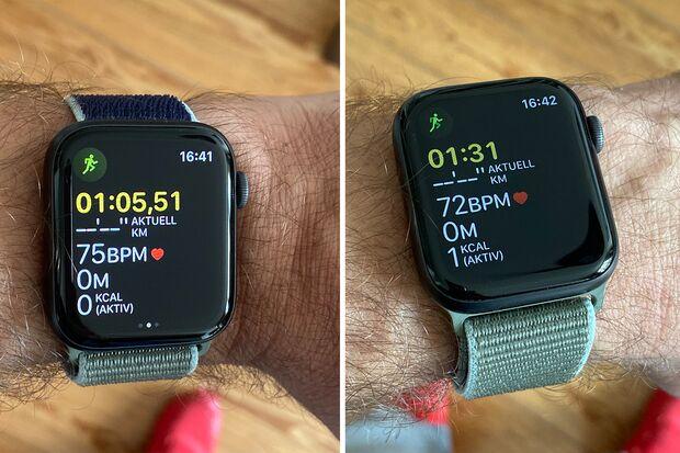 Das Always-on-Display der Apple Watch 5 (rechts gedimmt und ohne Millisekunden)