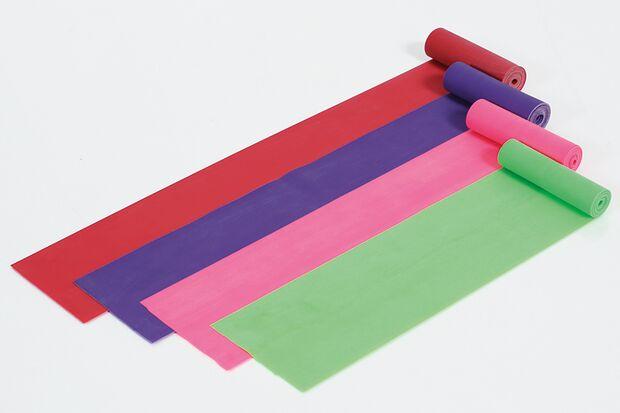 Dehnbänder gibt es in unterschiedlichen Farben, die für verschiedene Widerstandsstufen stehen