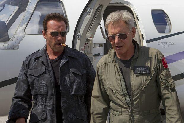 """Die Altstars der 80er geben sich in """"Expendables 3"""" die Ehre: Arnold Schwarzenegger und Harrison Ford"""
