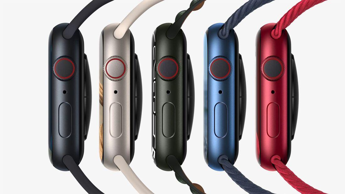 Die Aluminiumversion der Apple Watch 7 gibt's in 5 Farben (Schwarz, Silber, Grün, Blau und Rot)