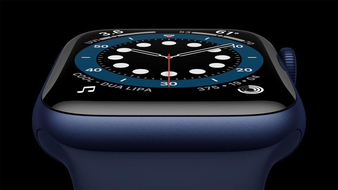 Die Apple Watch 6 gibt es auch in einem blauen Gehäuse