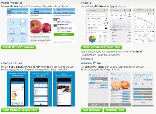 Die Fddb-Apps gibt es kostenlos für iOS, Android und Windows Phone
