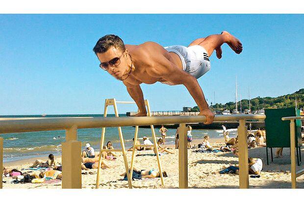 Die besonder Workout Übung am Strand