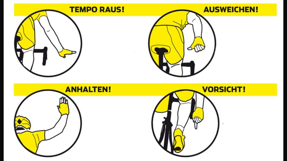 Die wichtigsten Handzeichen fürs Rennradfahren in der Gruppe