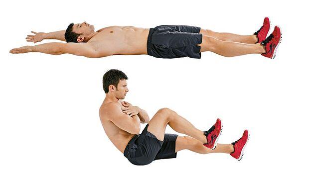 Drei-Wege-Sit-ups mit Beinanziehen