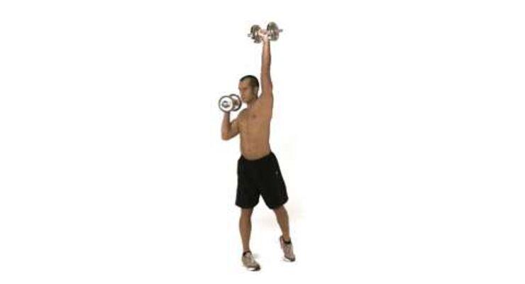 Einarmig gedrehtes Schulterdrücken mit Kurzhanteln /schultern_004-5
