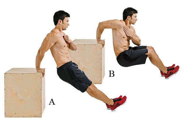 Einarmige Dips stärken Trizeps, Schultern und Rumpf