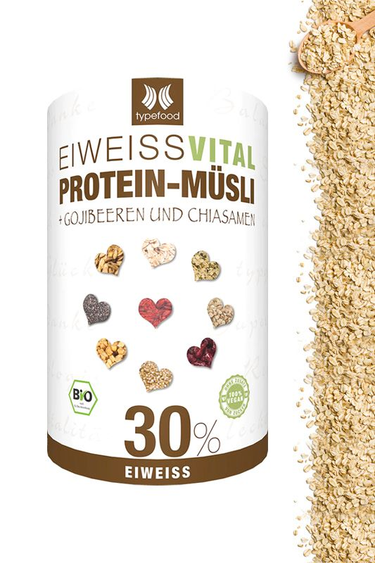 """Eiweiss Vital """"Protein-Müsli"""" + Gojibeeren und Chiasamen"""