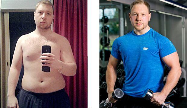 Florian hat 50 Kilo abgenommen: vorher wog er 130 Kilo und nachher 80 Kilo