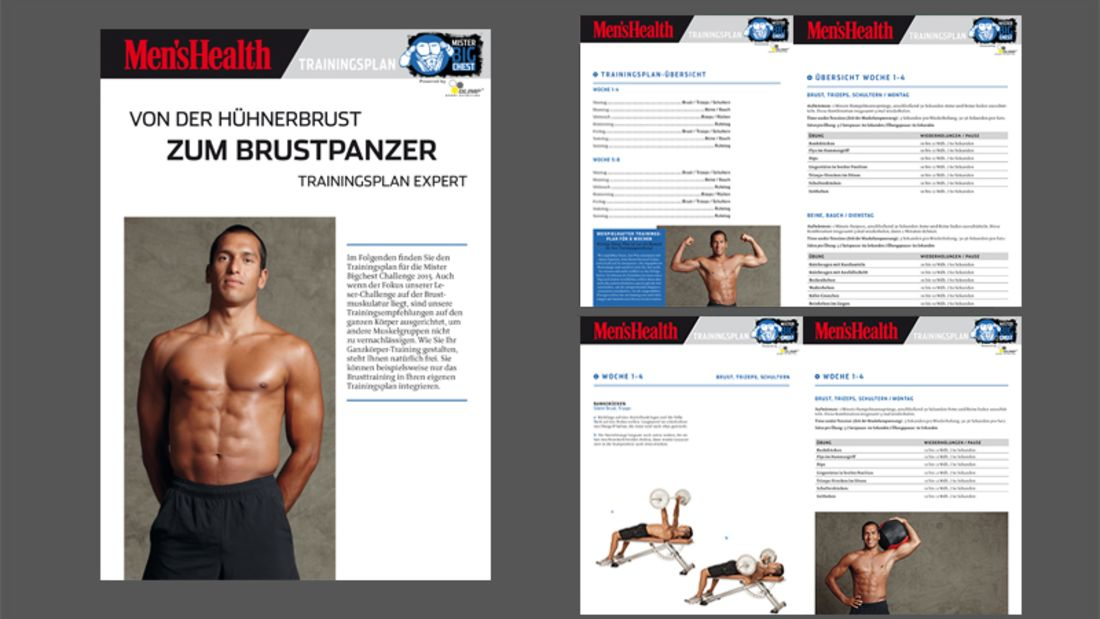 Fortgeschrittenen-Trainingsplan für eine breite Brust als PDF