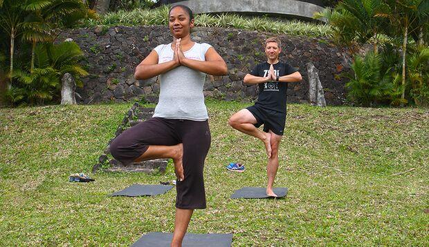 Größte Herausforderung: eine Yoga-Session steht auf dem Plan