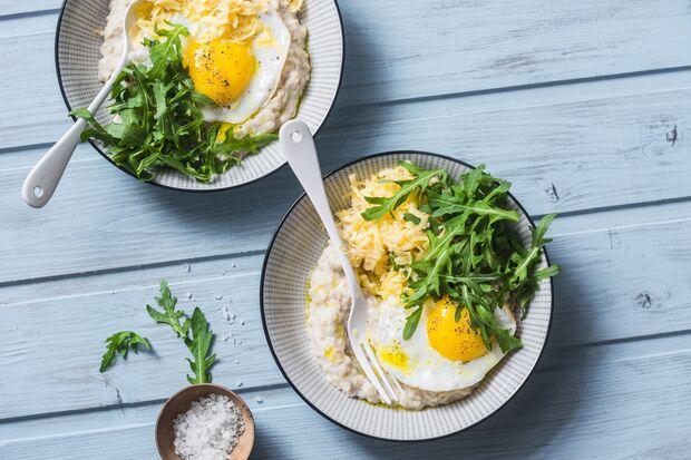 Haferflocken mit Ei und Gemüse schmeckt tatsächlich