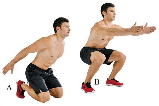 Hocksprünge aus den Knien aktivieren Beine, Gesäß und Rumpf