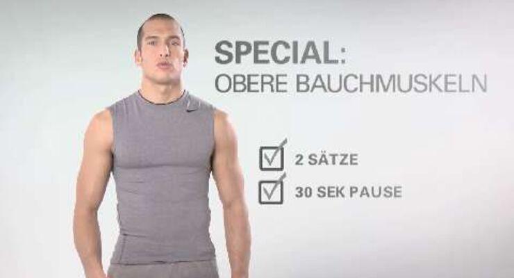 In unserer Video-Serie gibt's jede Woche ein Kurz-Workout nur für Ihre Körpermitte. Dieses Mal: Das Spezial-Training für die oberen Bauchmuskeln