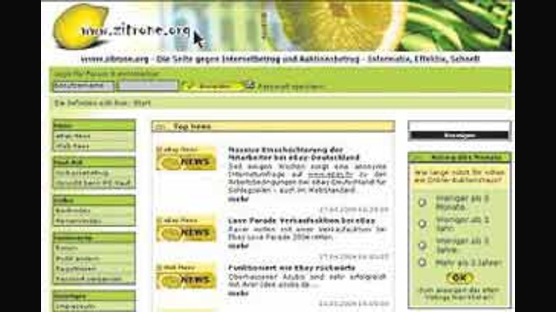 Internetseite: Zitrone