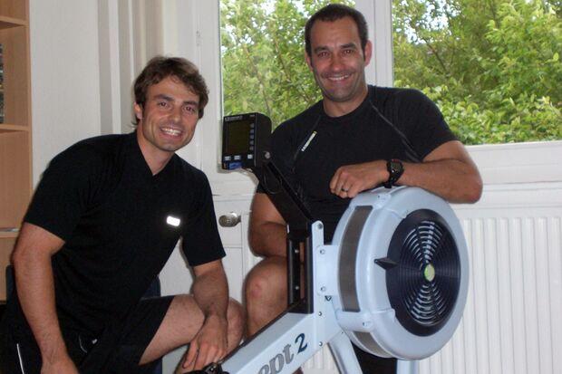 Kandidat Michael Gerke mit Indoor-Rower und Personal Trainer