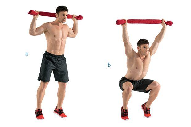Kniebeugen auf Zehenspitzen mit Schulterdrücken