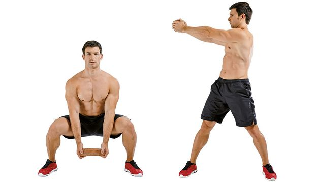 Kniebeugen mit seitlichem Armstrecken und Rumpfdrehen