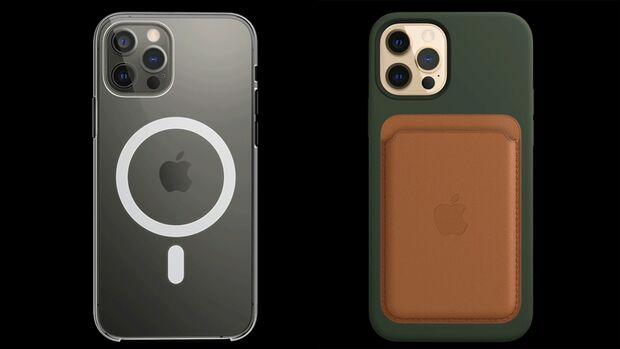 Magsafe: An einem Magnetring auf der Rückseite des iPhone 12 Pro haften das passende Ladegerät und Zubehör wie ein Portemonnaie