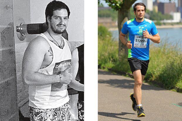 Mario hat 33 Kilo abgenommen: vorher wog er 110 Kilo un nachher 77 Kilo