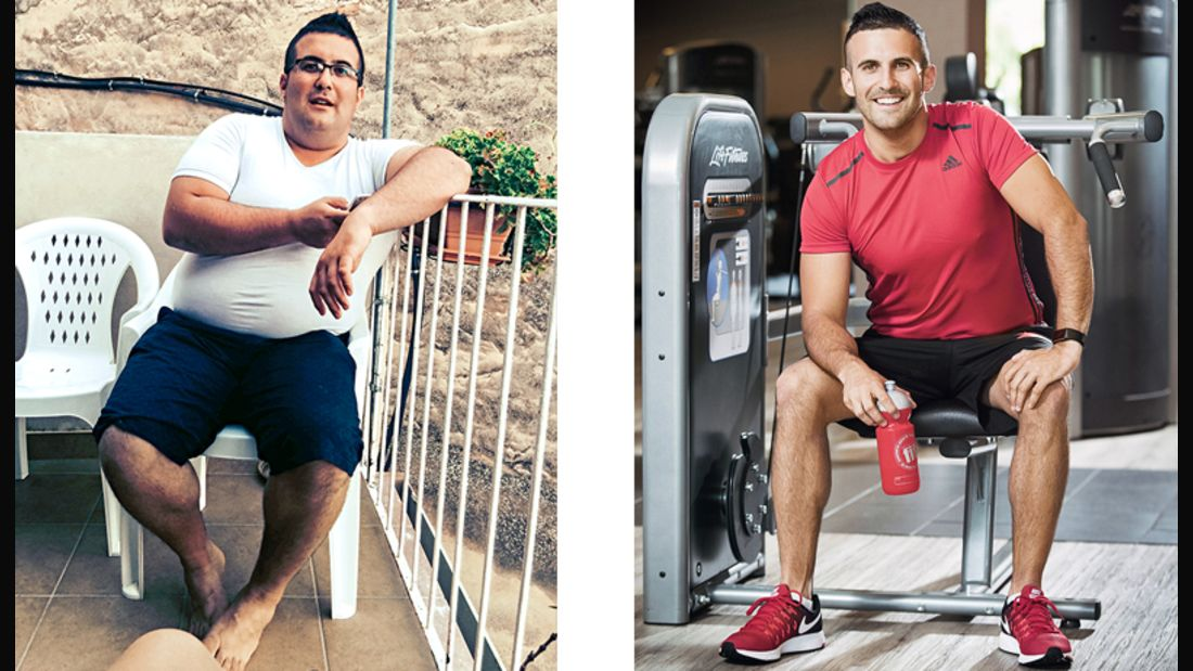 Massimo hat 60 Kilo abgenommen, vorher wog er 135 Kilo, nachher 75 Kilo