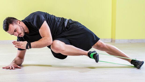 Mit den farbigen Gummibändern mit unterschiedlichen Widerständen kannst du viele Übungen intensivieren