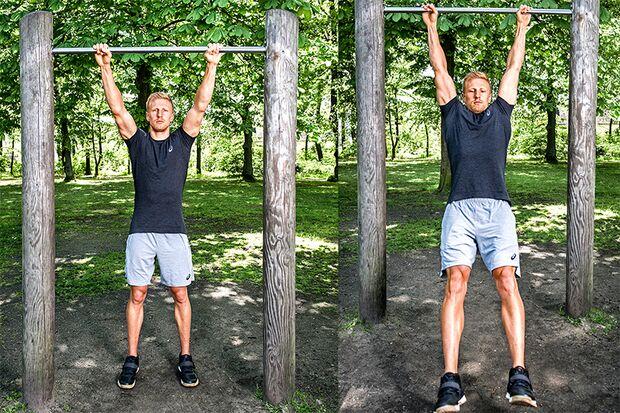 Muscle-Up Schritt 1-2: Stange greifen und mit getreckten Beinen nach vorn schwingen