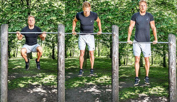 Muscle-Up Schritt 3-5: Knie anziehen, umgreifen, Arme strecken und in den Stütz drücken.