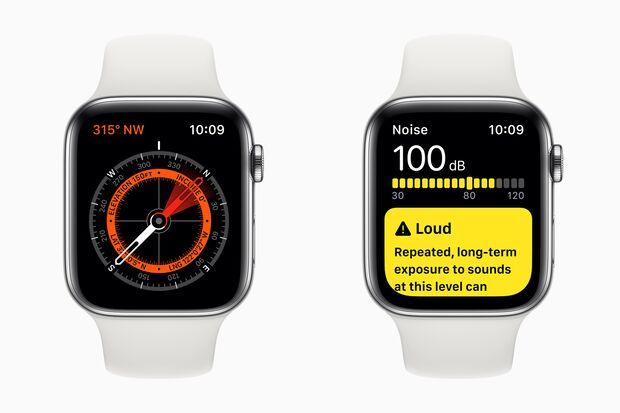 Neue Funktionen auf der Apple Watch: ein Kompass und eine App, die den Umgebungslärm misst