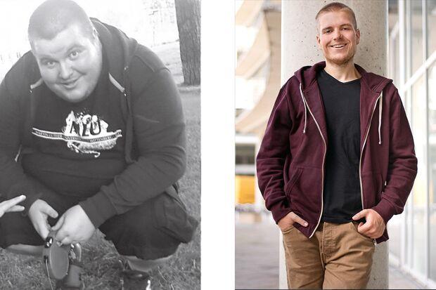 Robert hat 90 Kilo abgenommen: vorher wog er 180 Kilo, nachher 90 Kilo