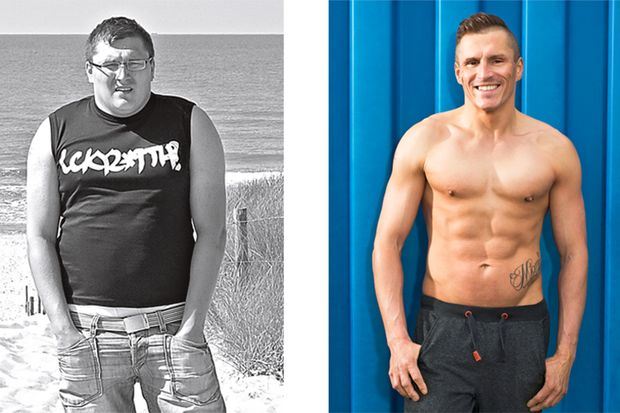 Robert hat abgenommen: vorher wog er 110 Kilo und hinterher 70 Kilo