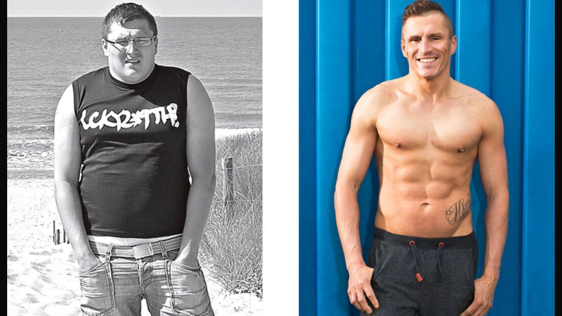 Robert hat abgenommen: vorher wog er 110 Kilo und nachher 70 Kilo