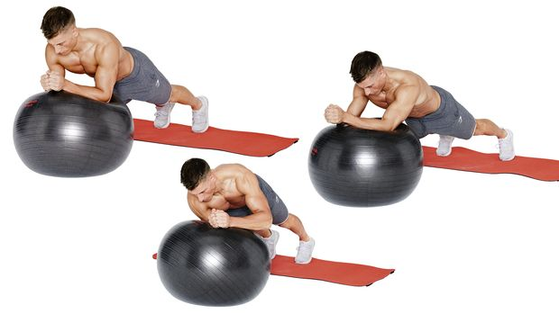 Rotierende Swiss-Ball-Planks