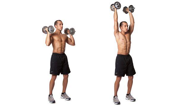 Schulterdrücken mit Kurzhanteln