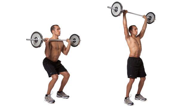 Schulterdrücken mit Langhantel und Kniebeugen