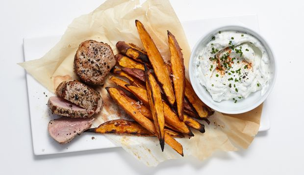Schweinefilet mit Sweet Potato Fries